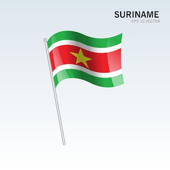 Suriname waving flag isolated on gray background