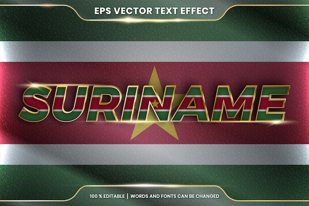 Suriname with its national country flag, editable text effect style with gradient gold color concept