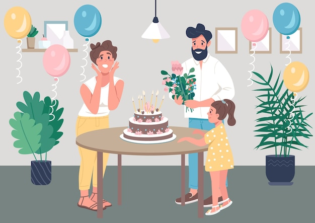 Сюрприз bday party плоская цветная иллюстрация