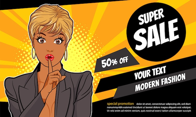 Surprise black woman with finger on lips and sale promotion banner template