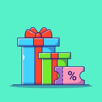 Surprise gift box and discount coupon giveaway flat icon illustration isolated