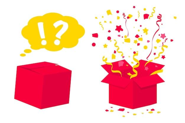 깜짝 선물 상자. ui, 웹, 인쇄 디자인 등을 위한 색종이 조각과 리본이 있는 깜짝 상자 포장 놀라움, 열리고 닫힌 종이 상자, 감정적 선물, 특이한 선물 아이디어 개념. 생일 선물