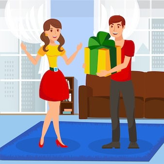 Surprise gift presenting flat vector illustration