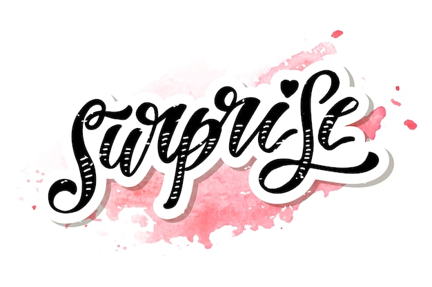 Surprise lettering calligraphy brush text holiday  sticker