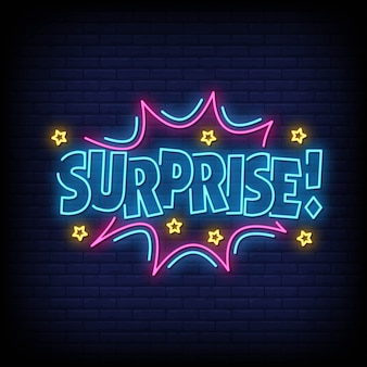 Surprise neon signs style text
