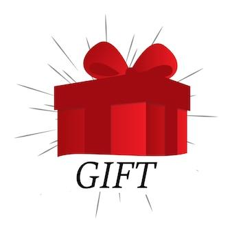 Сюрприз красная подарочная коробка, празднование дня рождения, специальный подарочный пакет, награда по программе лояльности, чудо-подарок с восклицательным знаком, векторная иконка, плоская иллюстрация