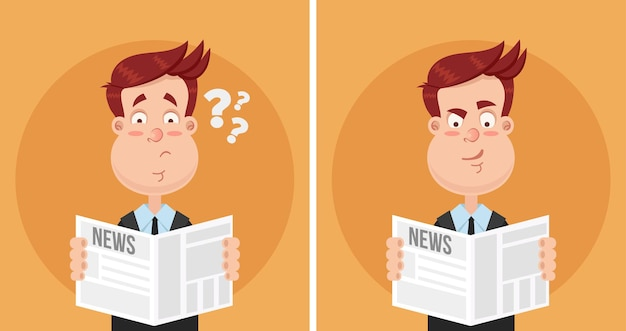 新聞のテキスト記事を読んでいる男性実業家マネージャーサラリーマンキャラクターに驚いて困惑した表情。デイリーニュースタブロイドコンセプト。顔の感情