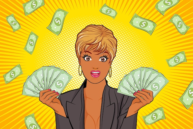 Surprised black woman showing and falling down money pop art retro comic style