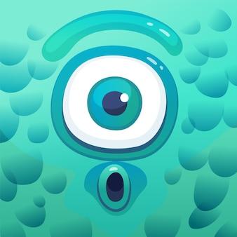 사각형 프레임에 놀란 만화 사이클롭스 괴물, 충격을받은 얼굴이있는 재미있는 만화 캐릭터, 큰 눈 하나 및 청록색 피부. 귀여운 외계 생물 그림