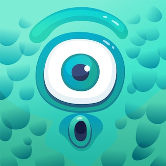 Surprised cartoon cyclops monster in square frame, funny cartoon character with shocked face, one big eye and blue-green skin. cute alien creature illustration