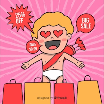 Surprised cupid valentine sale background