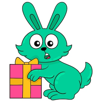 Surprised faced rabbit for getting easter gifts, vector illustration art. doodle icon image kawaii.