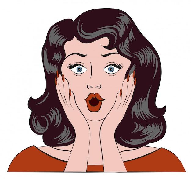 Удивленная девушка, вау эмоции, женщина была удивлена и приложила руки к щекам Premium векторы