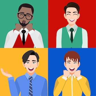 口を開けて笑って驚いた男性と大笑い分離の漫画のキャラクター