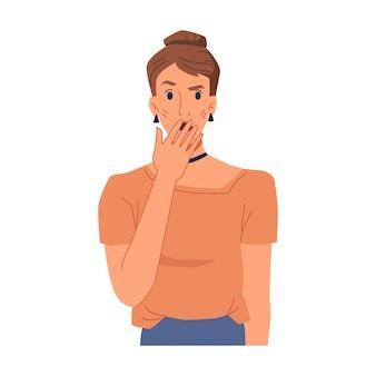 Удивленная или шокированная женщина, закрывающая рот рукой, скрывая эмоции, изолировала женский персонаж