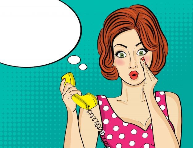 Surprised pop art  woman chatting on retro phone