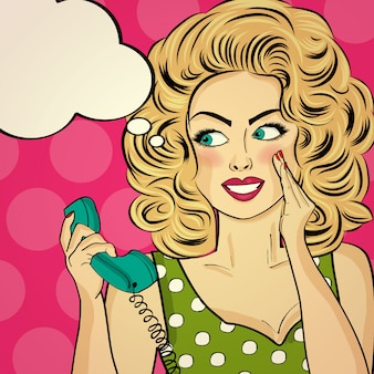 Surprised pop art woman with retro phone