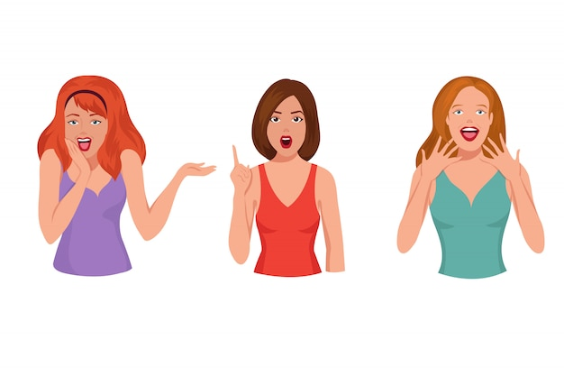 Surprised pretty woman. astonished laughing girl cartoon vector set