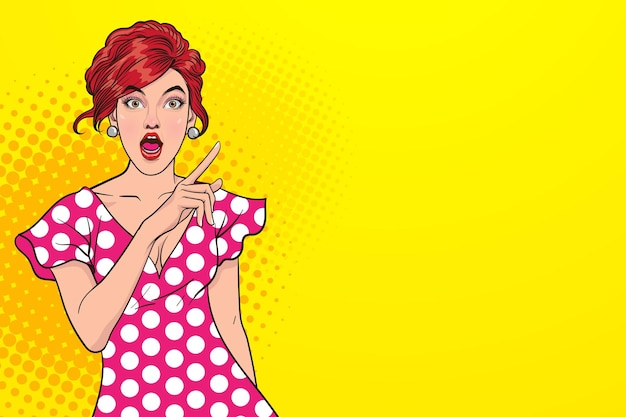 Surprised sexy woman with open mouth and pointing finger up with space pop art retro comic style.