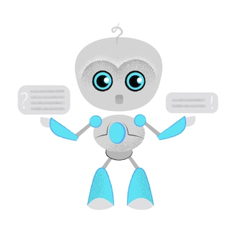 Surprised talking robot and speech bubbles. chatbot, dialog, online lesson.