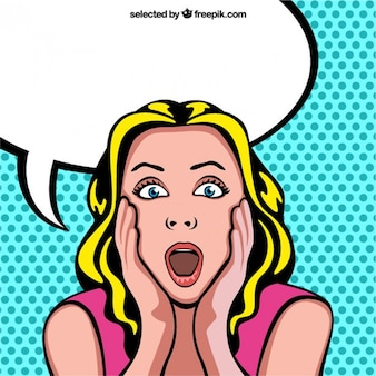 Surprised woman cartoon with blank speech bubble