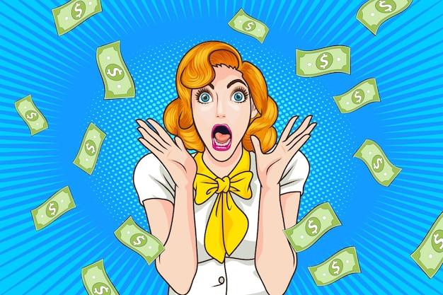 Удивленное лицо женщины с открытым ртом и падающими деньгами поп-арт в стиле ретро комиксов