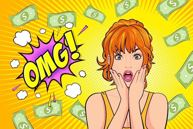 Удивленное лицо женщины с открытым ртом, боже мой и падающие деньги поп-арт в стиле ретро комиксов