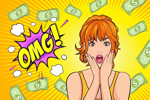 Surprised woman face wow with open mouth omg and falling down money pop art retro comic style