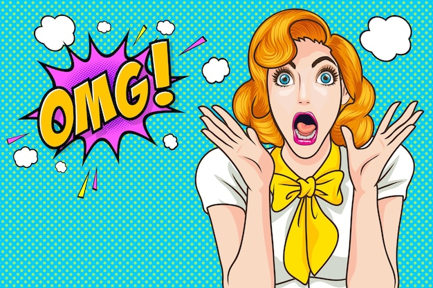 Surprised woman face wow with open mouth omg pop art retro comic