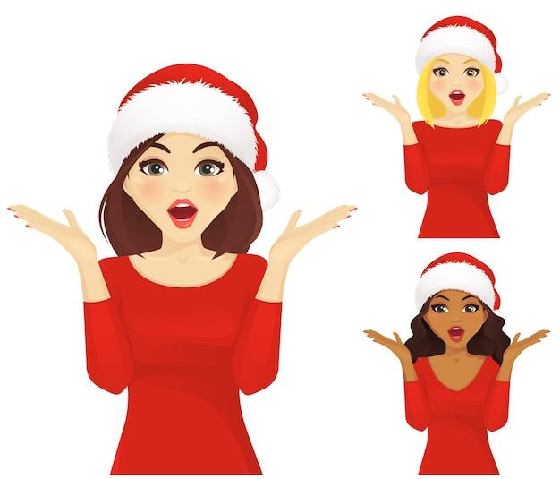 크리스마스 산타 모자에 놀란된 여자