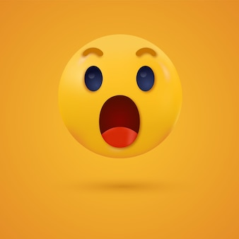 Surprised wow emoji open mouth shocked emoticon for social media reactions