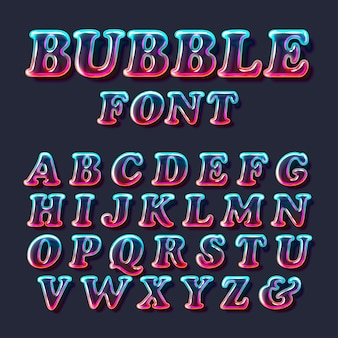 Surreal color bubble glass alphabet font with transparency and shadows