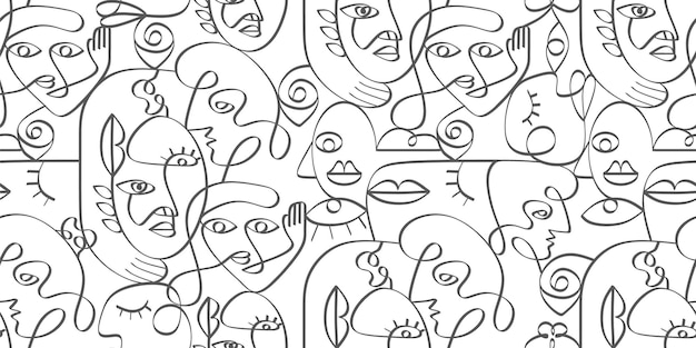 Surreal face line art drawing seamless pattern