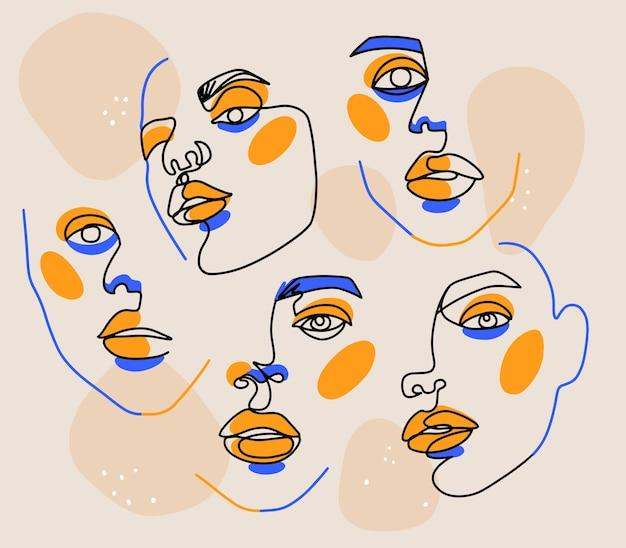 초현실적 인 페이스 페인팅 세트. 한 라인 아트 포스터. 여성 윤곽 실루엣. 연속 그리기. 추상 여자 현대 초상화입니다. 패션 미니멀 그래픽 디자인. 삽화.