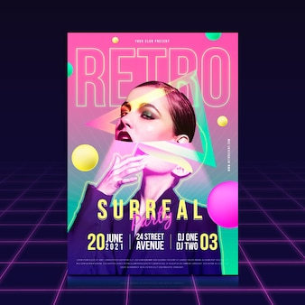 Surreal party poster with date and time