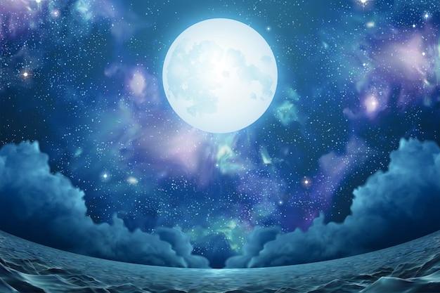 어안 보기에서 아름다운 성운 은빛 보름달과 반짝이는 바다 표면이 있는 초현실적인 바다