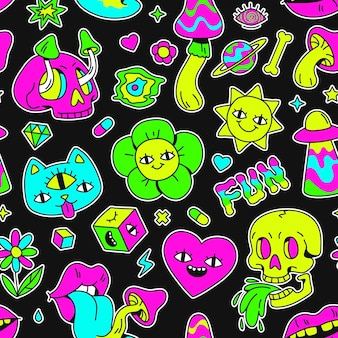 Surreal trippy seamless pattern with mushrooms and weird characters. cartoon psychedelic animal, eyes, skulls and space badges vector print