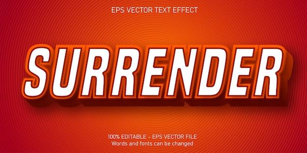 Surrender text, cartoon style editable text effect