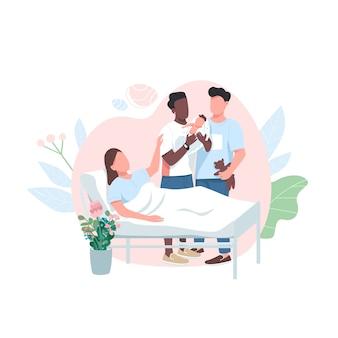 Суррогатная мама с гомосексуальной парой плоский цвет безликий персонаж. усыновление ребенка. родители лгбт с новорожденным. альтернативное рождение изолированное карикатурное изображение для веб-графического дизайна и анимации