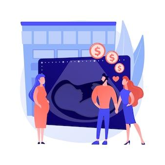 代理母抽象概念ベクトルイラスト。子を産む、妊婦、女性の腹部、生物学的母親、両親になる、養子縁組、赤ちゃんの抽象的な比喩を期待する幸せなカップル。