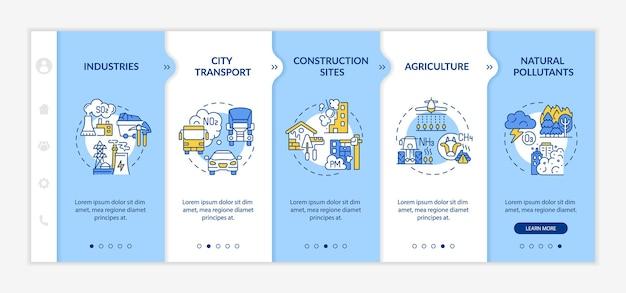 주변 대기 오염 온보딩 벡터 템플릿입니다. 아이콘이 있는 반응형 모바일 웹사이트입니다. 웹 페이지 연습 5단계 화면. 도시 교통, 선형 삽화가 있는 산업 색상 개념