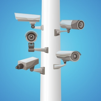 Камера видеонаблюдения на столбе