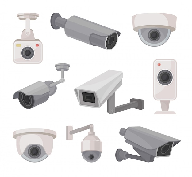 Surveillance camera outdoors and indoors. video monitoring.