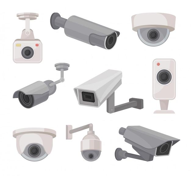 Surveillance camera outdoors and indoors. video monitoring. Premium Vector