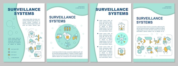 Surveillance system features mint brochure template. cameras usage. flyer, booklet, leaflet print, cover design with linear icons. vector layouts for presentation, annual reports, advertisement pages