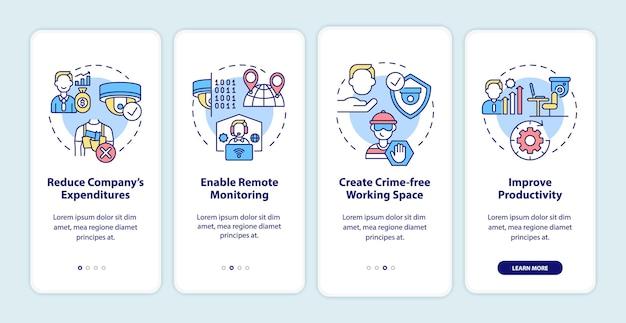 Система видеонаблюдения за бизнес-технологиями на экране страницы мобильного приложения