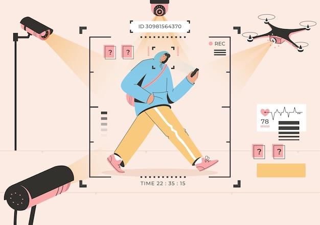 Концепция технологии видеонаблюдения распознавание лиц человека, идущего по улице