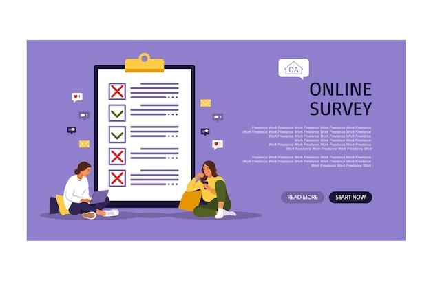 Survey of customer satisfaction landing page template