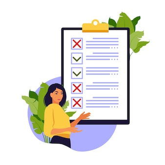 Survey of customer satisfaction. piece of paper with ticks and crosses. small people characters fill out a form. vector illustration. flat style.