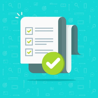 Survey or exam form long paper sheet with answered quiz checklist and success result assessment flat cartoon